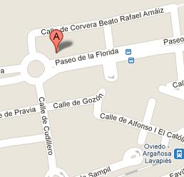 Localización de la Autoescuela Ríos en Oviedo.